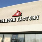 Kolache Factory name on front of the bakery
