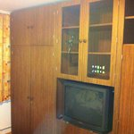 Sleeping room with TV and wardrobe from the 1980s