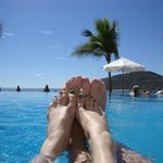 feet at the pool