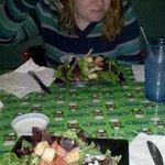 Side Salads on adorable custom Green Owl table!