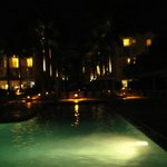 Resort at night from the pool area