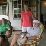 Bea, Wyn and Dave enjoying Christmas morning