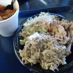 3 item plate : kalua pork, chickens stew, chicken adobo and rice noodles chowmein