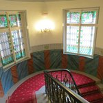 Stairs with beautiful stained glass windows