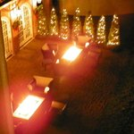 Fire pits of the restaurant down stairs from the private second story porch of the Master Suite