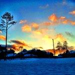 A beautiful sunset walk in winter