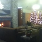 More lobby. Fire built up this time, but not always kept blazing.