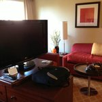 Living area of our suite, showing the flat screen on its swiveling base