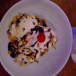 hot fudge and vanilla ice cream