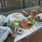 Pre-braai snack table in the glass house