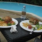 tasty hotel lunch by the pool!