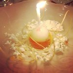 "Citrus sorbet and cheese ""snow""."