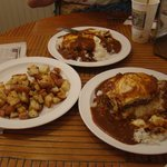 2 loco moco's and an order of breakfast potatoes