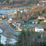 Polcraig Guest HOuse, and Lochinver village viewed from nearby hilltop