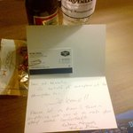 Personal Greeting, free beer,free water, free nuts...nice