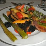 Fresh fruits and cold roasted vegetables