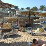 Beach Food with Beach bar behind it