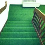 Open, carpeted, well lit stairwells for those who wish to take the stairs.