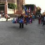 Balloon vendors in Plaza Principal next to El Jardin in San Miguel de Allende