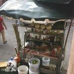Street Vendors offering food, candies, cigerattes