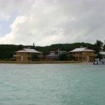 Hotel from boat in bay.