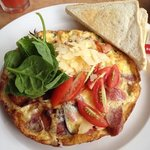 bacon and chorizo omelette