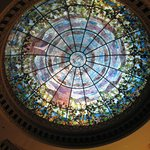 Stained glass dome over bar