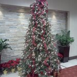 Hotel lobby decorated for the season