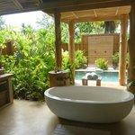 Private bath room off villa