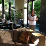 Welcoming guests to the resort - Andree