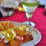 Shrimps Benedicte and Chilli Martini