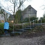 Walking up from the Lodge; the rough rustic steps are lit at night and there is now a hand rail.