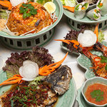A selection of meat, fish and noodle dishes