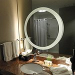 A lighted magnifying mirror