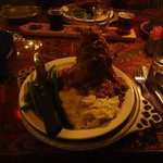 Pork Shank with cabbage, mashed potatoes, and fresh green beans