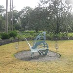 Quirky little butterfly bench in front yard