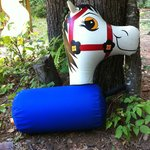 "One of the inflatable horses used at the kids ""horse race"""