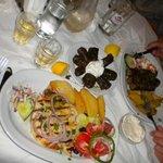 Swordfish, stuffed vine leaves, mixed kebabs