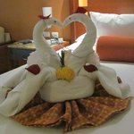 Towel animals made by our housekeeper