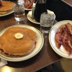 Banana pancakes with a side of bacon