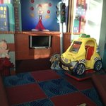 kids play area... a tv that doesn't work and a 2 euro a ride machine that doesn't work...