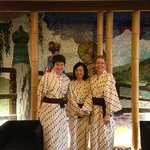 In the lobby. Wearing the Yukata provided for guests.