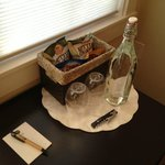 Snacks and water in the room