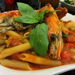 penne arrabiata with river prawn