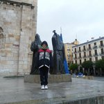 Zamora. Two Easter Penitents with 1 little tourist
