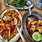 Salted prawns, Sweet & Sour Fish, Sabah Vegetables