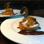 A Profiterole Swan with Chef's Mars Sauce