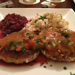 fantastic vegetarian schnitzel with red sauce! Fantastic!!!