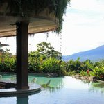 Photo got cut. Bar stools in the hot spring/pool. FUN!