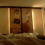 Neat traditional Japanese screens in the room
